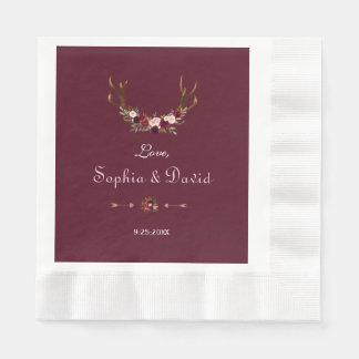 Burgundy Marsala Floral Antlers Wedding Disposable Napkin
