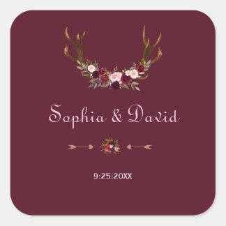 Burgundy Marsala Floral Antlers Wedding Square Sticker
