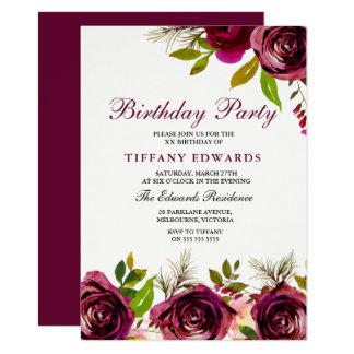 Burgundy Marsala Floral Birthday Party Invitation