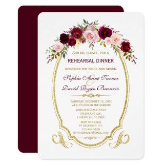 Burgundy Marsala Floral Fall Rehearsal Dinner Card