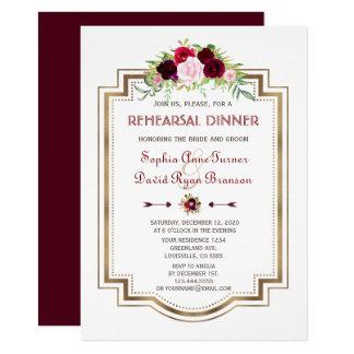 Burgundy Marsala Floral Gold Fall Rehearsal Dinner Card