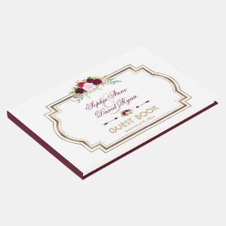 Burgundy Marsala Floral Gold Fall Wedding Guest Book