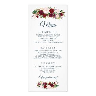 Burgundy Marsala Floral - Marine Blue Wedding Menu