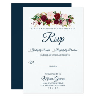 Burgundy Marsala Floral - Marine Blue Wedding RSVP Card
