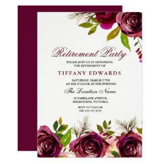 Burgundy Marsala Floral Retirement Party Invite