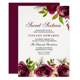 Burgundy Marsala Floral Sweet 16 Invitation