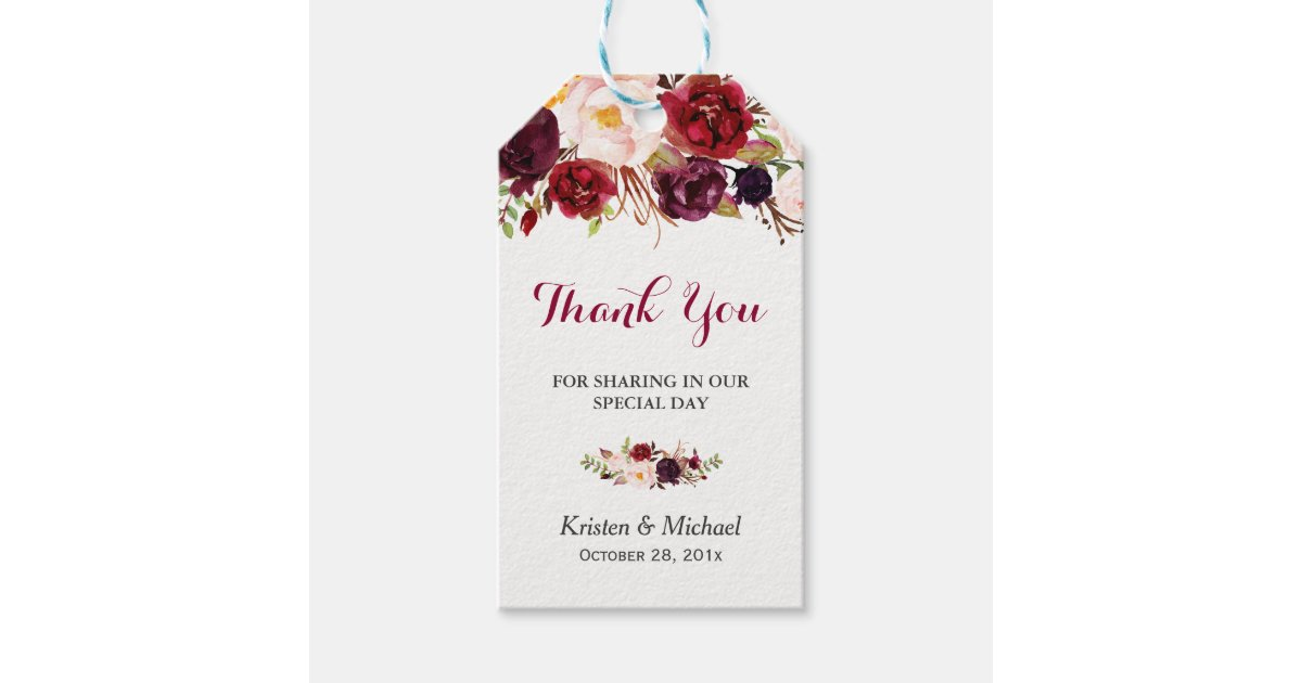 Free Printable Wedding Gift Tags: Burgundy Marsala Floral Wedding Favour Thank You Gift Tags