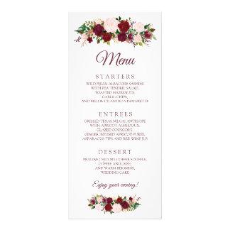 Burgundy Marsala Floral Wedding Menu