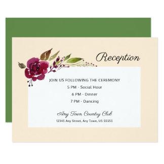 Burgundy Marsala Floral | Wedding Reception Card