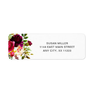 Burgundy Marsala Floral wedding return address