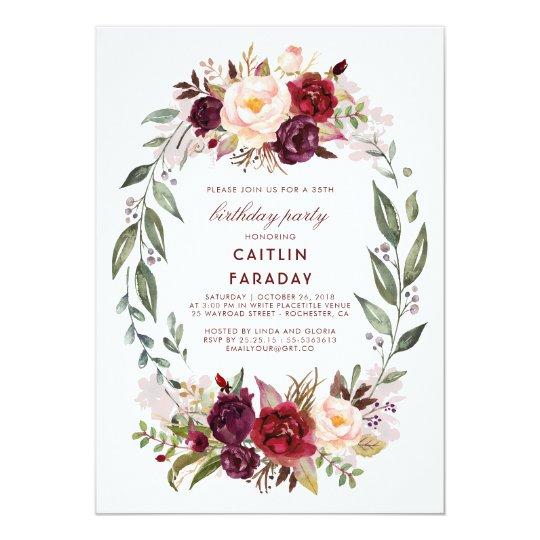 Burgundy - Marsala Floral Wreath Birthday Party Card
