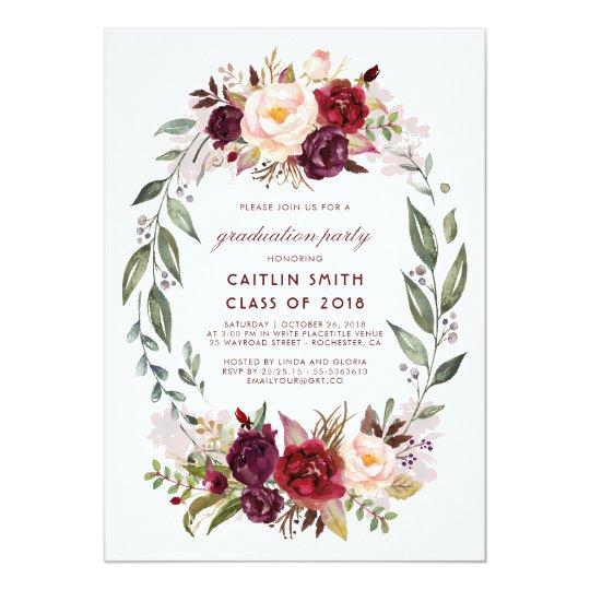 Burgundy - Marsala Floral Wreath Graduation Party Card