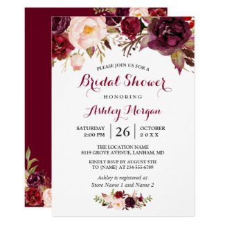 Burgundy Marsala Red Floral Autumn Bridal Shower Invitation
