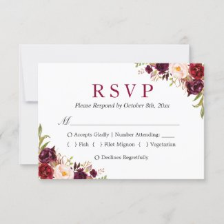 Burgundy Marsala Red Floral Autumn Wedding RSVP