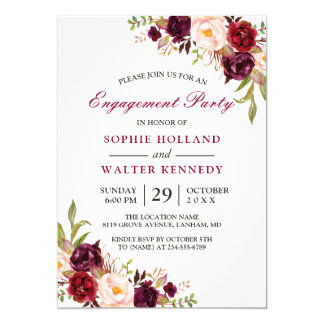 Engagement party invitations announcements zazzle ca burgundy marsala red floral chic engagement party card stopboris Choice Image