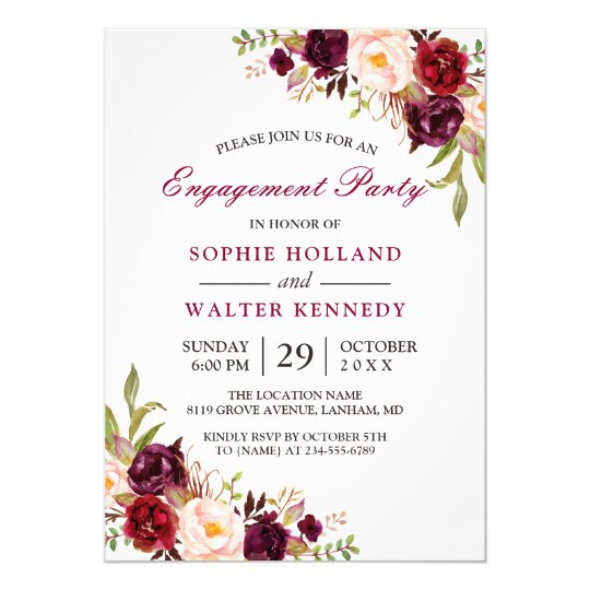 Burgundy Marsala Red Floral Chic Engagement Party Card