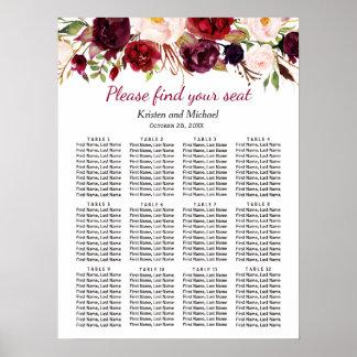 Burgundy Marsala Red Floral Wedding Seating Chart Poster