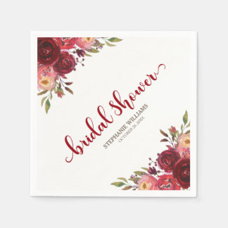 Burgundy Marsala Red Roses Floral Bridal Shower Disposable Napkin