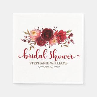 Burgundy Marsala Red Roses Floral Bridal Shower Paper Napkin