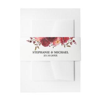 Burgundy Marsala Red Roses Floral invitation Invitation Belly Band