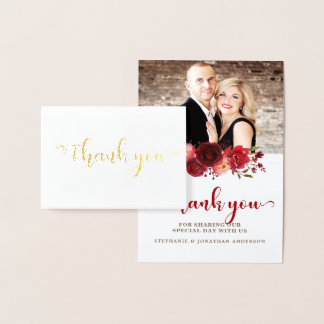 Burgundy Marsala Red Roses Floral Thank you Foil Card