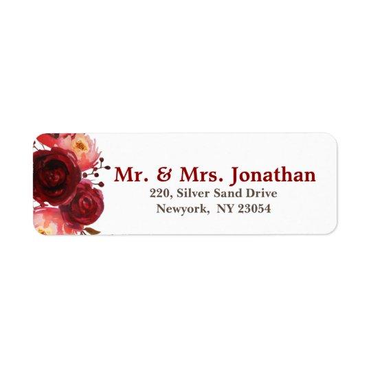Burgundy Marsala Red Roses Floral Wedding Address