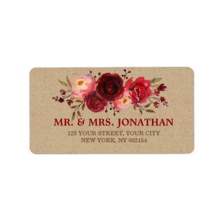 Burgundy Marsala Red Roses Floral Wedding Address Label