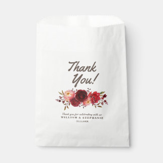 Burgundy Marsala Red Roses Floral Wedding Favour Bag