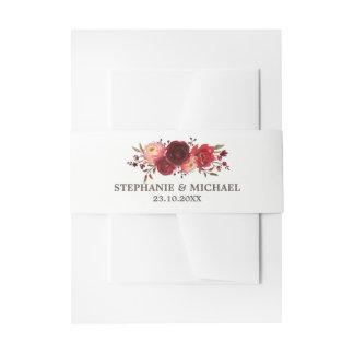 Burgundy Marsala Red Roses Floral Wedding Invitation Belly Band