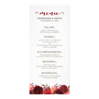 Burgundy Marsala Red Roses Floral Wedding Menu