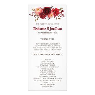 Burgundy Marsala Red Roses Floral Wedding Program