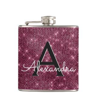 Burgundy Marsala Sparkle Monogram & Initial Hip Flask