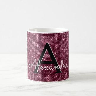 Burgundy Marsala Sparkle Monogram Name & Initial Coffee Mug
