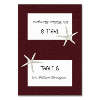Burgundy Marsala Tented Place Escort Cards