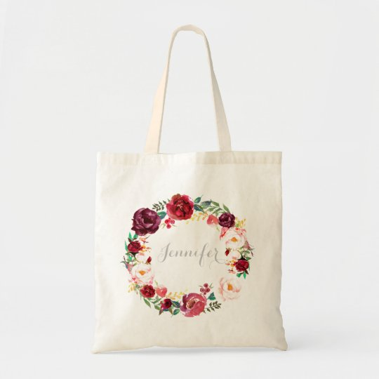 burgundy marsala wreath personalized bridesmaid tote bag