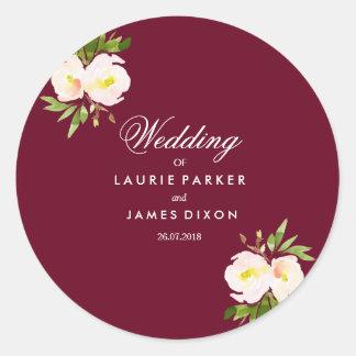 Burgundy Modern Floral Elegant Wedding Sticker