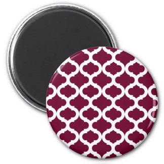 Burgundy Moroccan Pattern 2 Inch Round Magnet