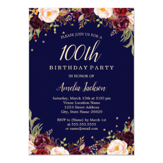Burgundy Navy Elegant Floral 100th Birthday Party Card