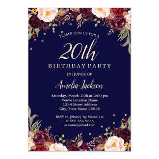 Burgundy Navy Elegant Floral 20th Birthday Party Card
