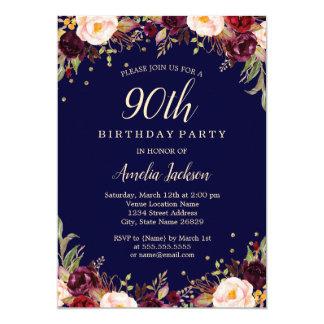 Burgundy Navy Floral Elegant 90th Birthday Party Card