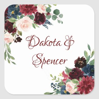 Burgundy Navy Floral | Elegant Hand Letter Wreath Square Sticker