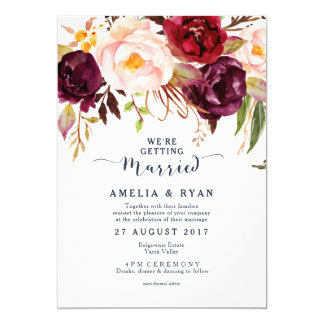 Burgundy Navy Floral Wedding Invitation
