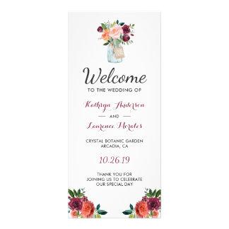 Burgundy Orange Flowers Mason Jar Wedding Program