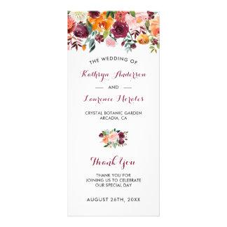 Burgundy Orange Pink Flowers Wedding Program