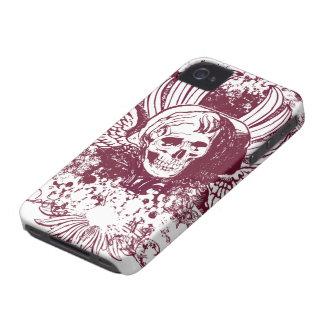 Burgundy ornate skull awesome blackberry bold Case-Mate iPhone 4 cases