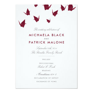 Burgundy Paper Cranes Wedding Program