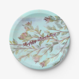 Burgundy Paper Plate Watercolor Event Products