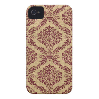 Burgundy Parisian Moods Damask iPhone 4 Case-Mate Case