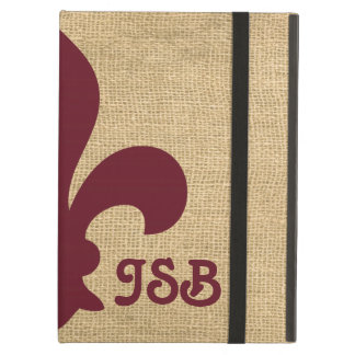 Burgundy Parisian Moods Fleur de Lys Monogram iPad Air Cases