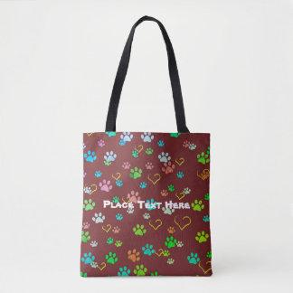 Burgundy paw print & heart pattern tote bag